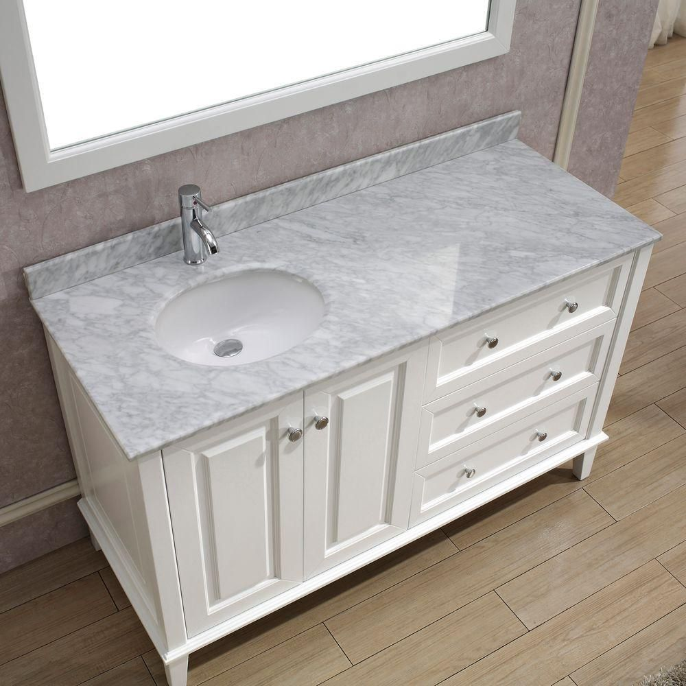 Art Bathe Lily 55 In Vanity In White With Marble Vanity Top In White And Mirror Lily 55 White Carrera The Home Depot 48 Inch Bathroom Vanity Single Bathroom Vanity Single Sink Bathroom Vanity [ 1000 x 1000 Pixel ]