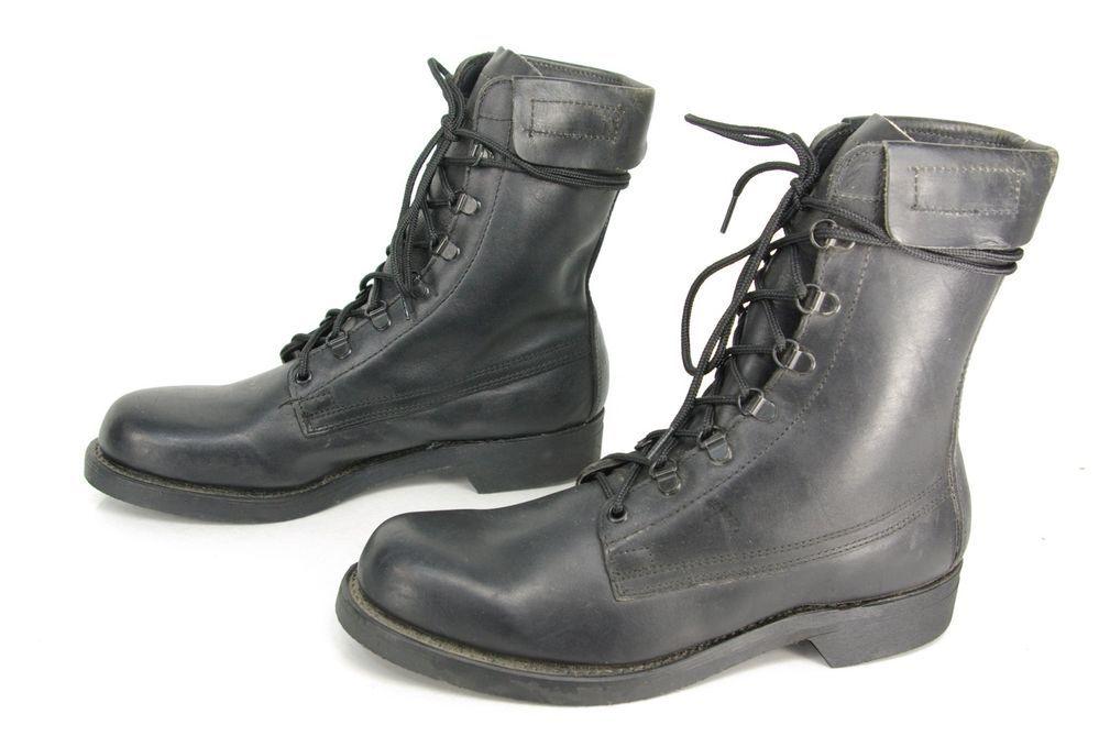 Mens Vintage Addison Black Leather Combat Military Jump