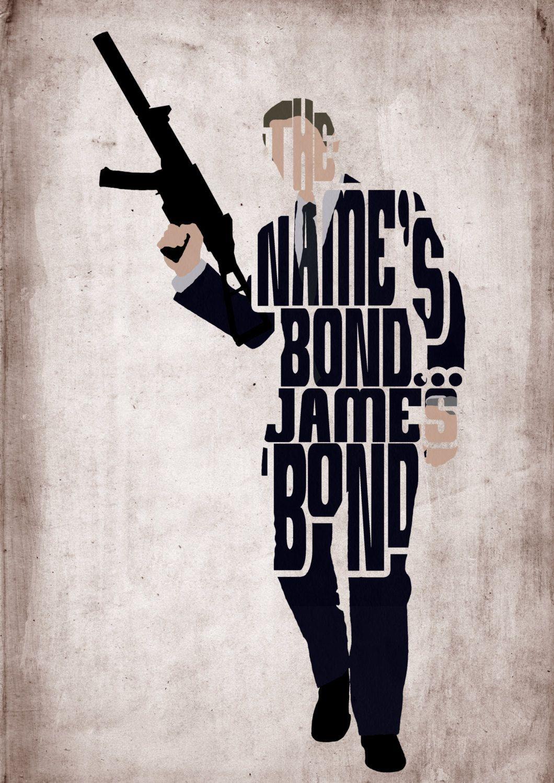 James Bond Daniel Craig Poster - Minimalist Typography Poster Movie Poster Art Print Illustration Wall Art & James Bond Daniel Craig Poster - Minimalist Typography Poster Movie ...