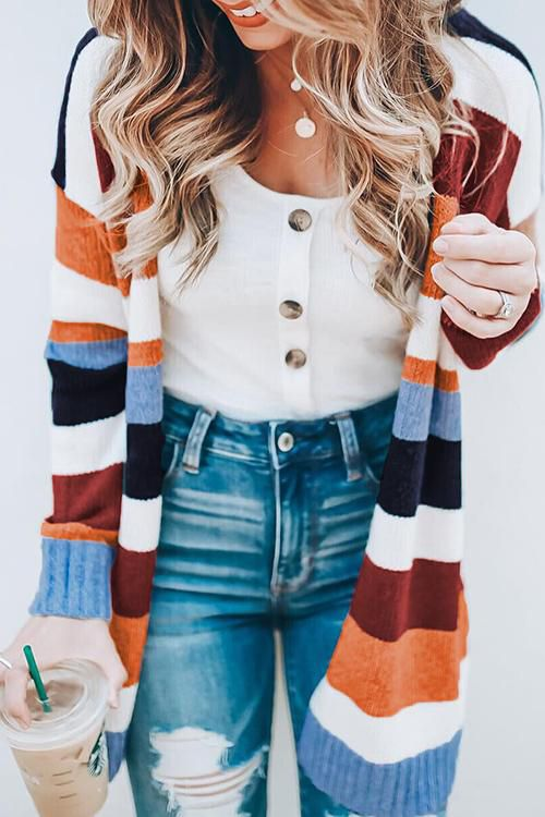 Allovely Colorful Striped Cardigan