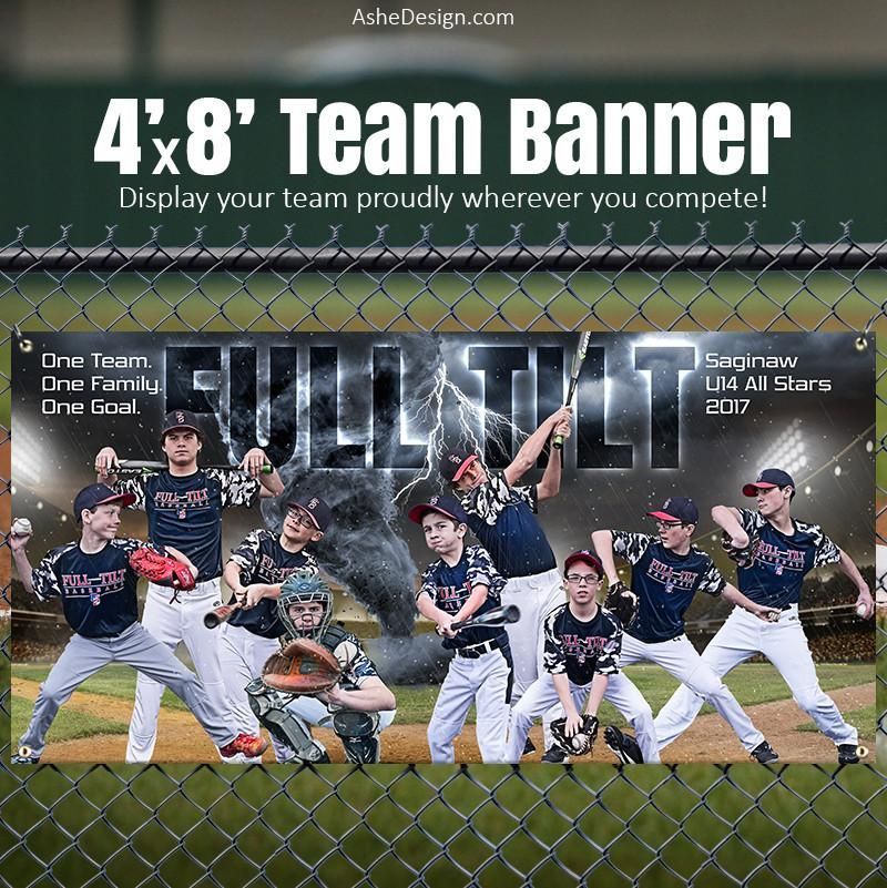 Amped Sports Team Banner 4 X8 Tornado Alley Baseball Softball Aplausos Miguelitos