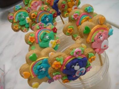 Use a jar of uncooked rice to hold your cake pops and cookies-on-a-stick while they're drying.  Great idea for a party!