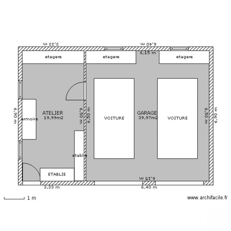 Garage double atelier plan de 2 pi ces et 60 m2 garage for House plans with double garage
