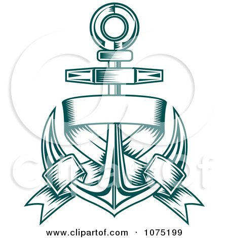 Teal Nautical Anchor And Blank Banner Logo By Seamartini Graphics