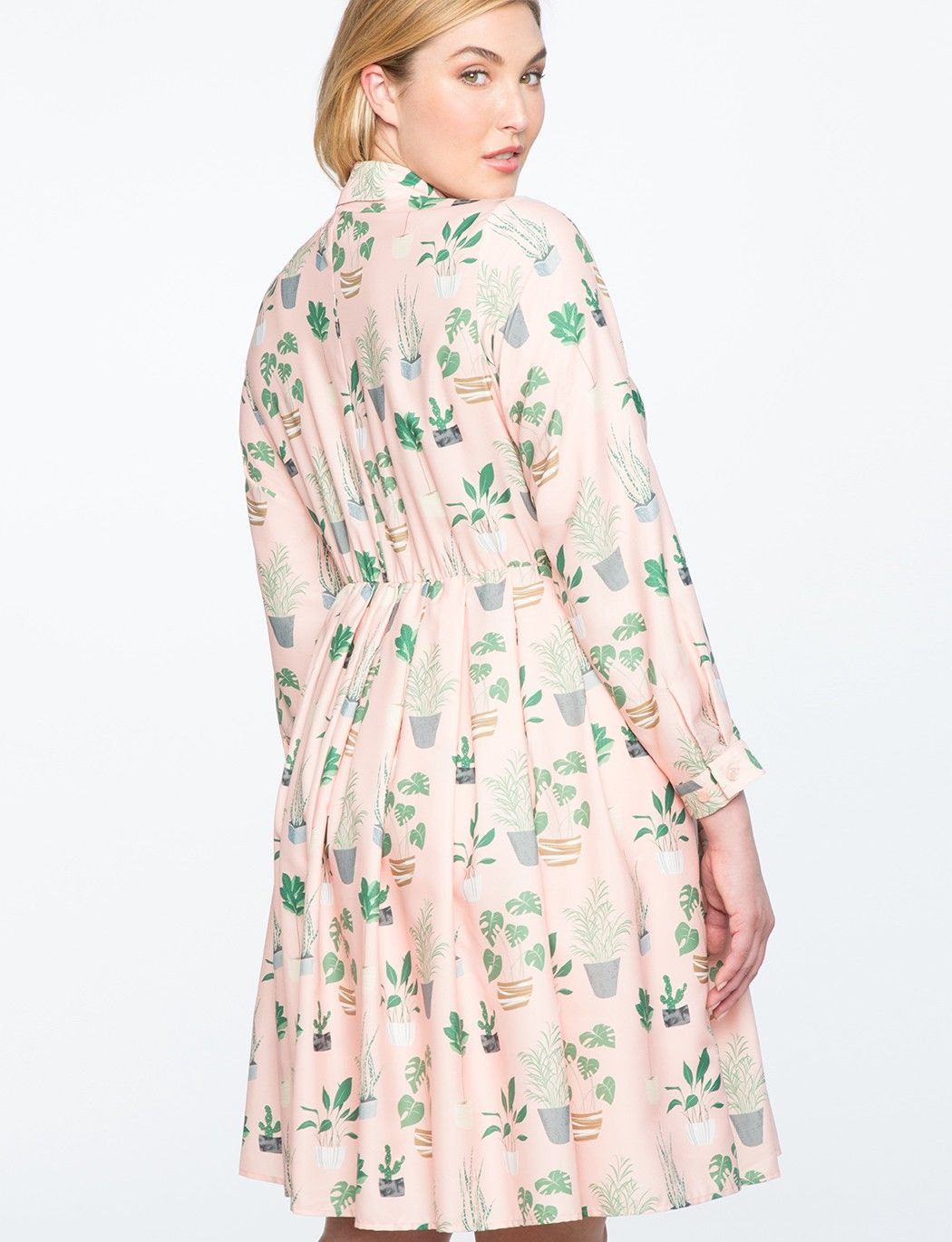 dd0cfb76ec7 Eloquii Long Sleeve Printed Fit And Flare Dress - The Secret Life Of Plants  28