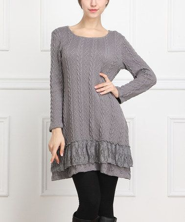 7b2e8b4bfd1 Look what I found on  zulily! Gray Cable-Knit Sweater Dress - Women by  Reborn Collection  zulilyfinds