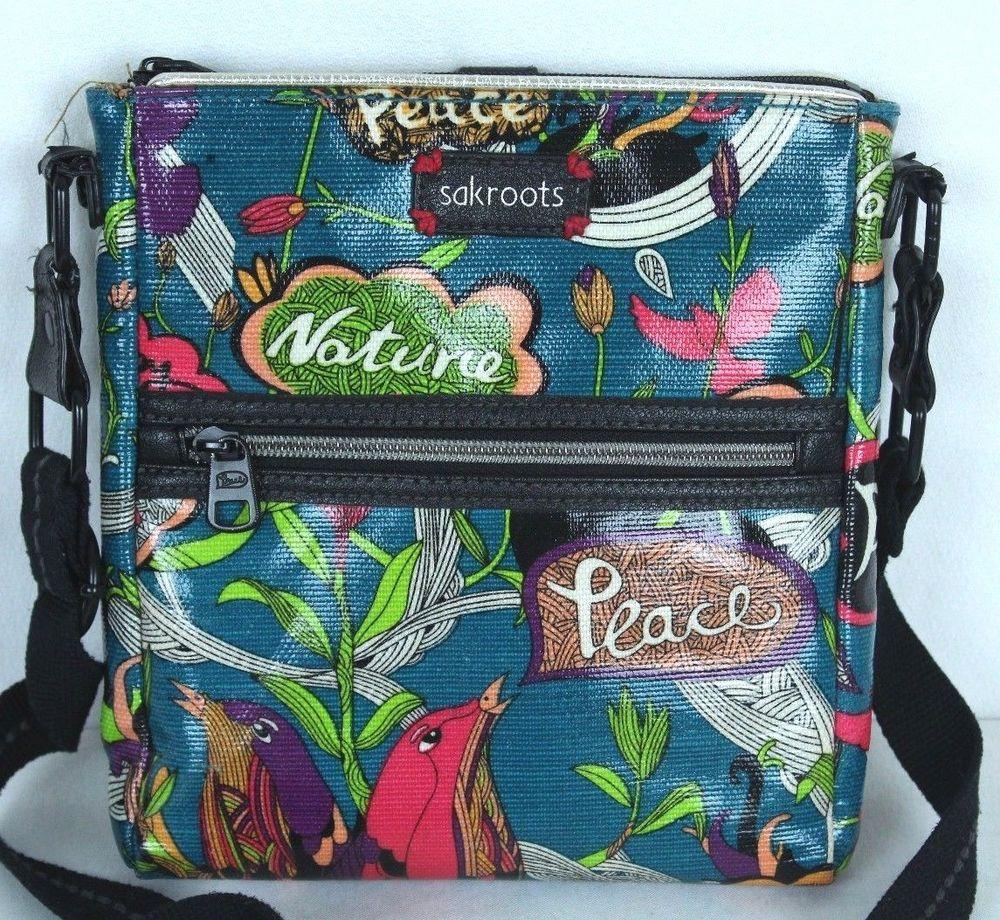 0144b68ea SAKROOTS Peace Black Coated Canvas Crossbody Handbag Birds Artist Circle # Sakroots #Crossbody