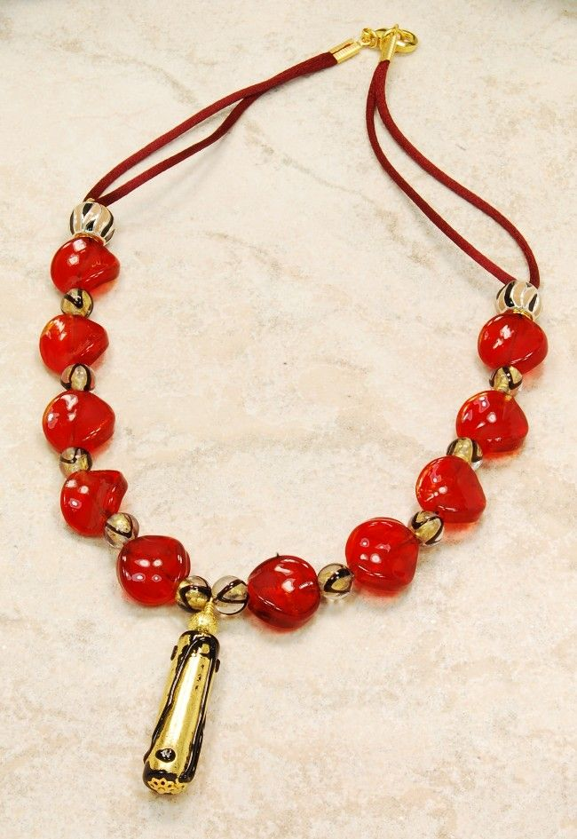 bc9e332d4cfb Lovely Murano glass necklace with pendant. Ruby red beads in Venetian  style