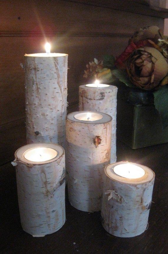 Large Birch Bark Log Tea Light Candle By Birchhousemarket Candle