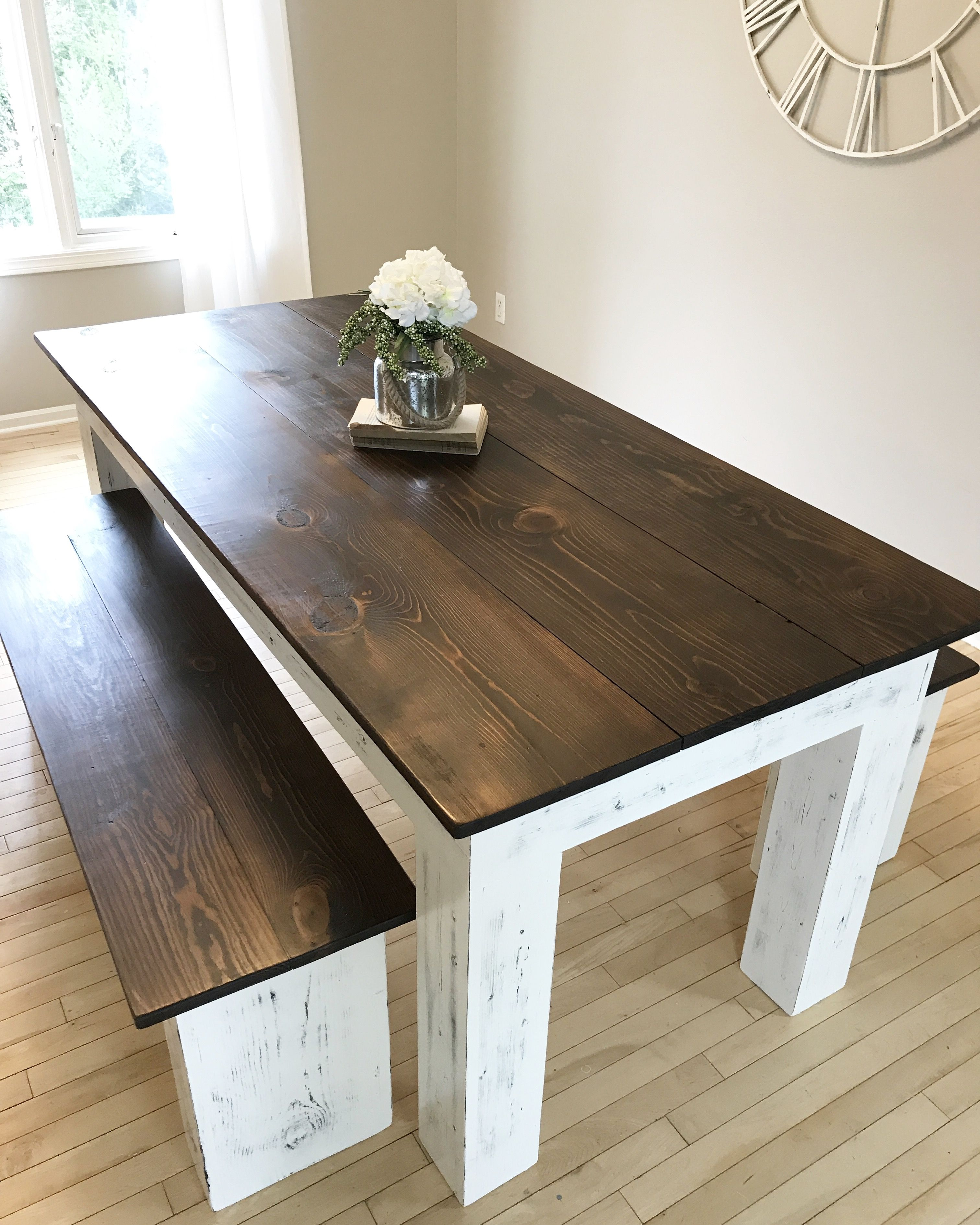 Custom made modern farmhouse table and benches modern
