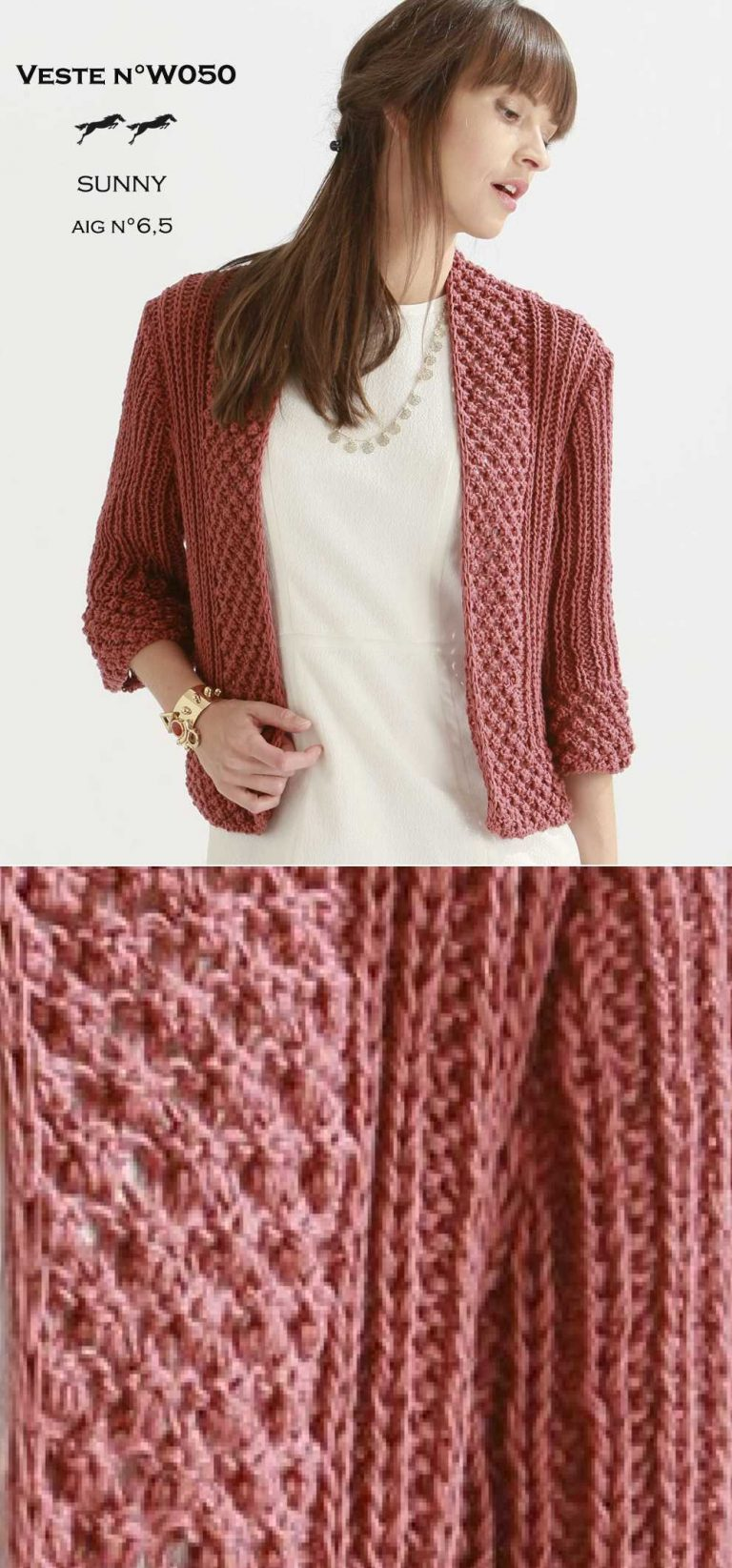 Stylish jacket knit pattern for women with three quarter sleeves, great garment to match