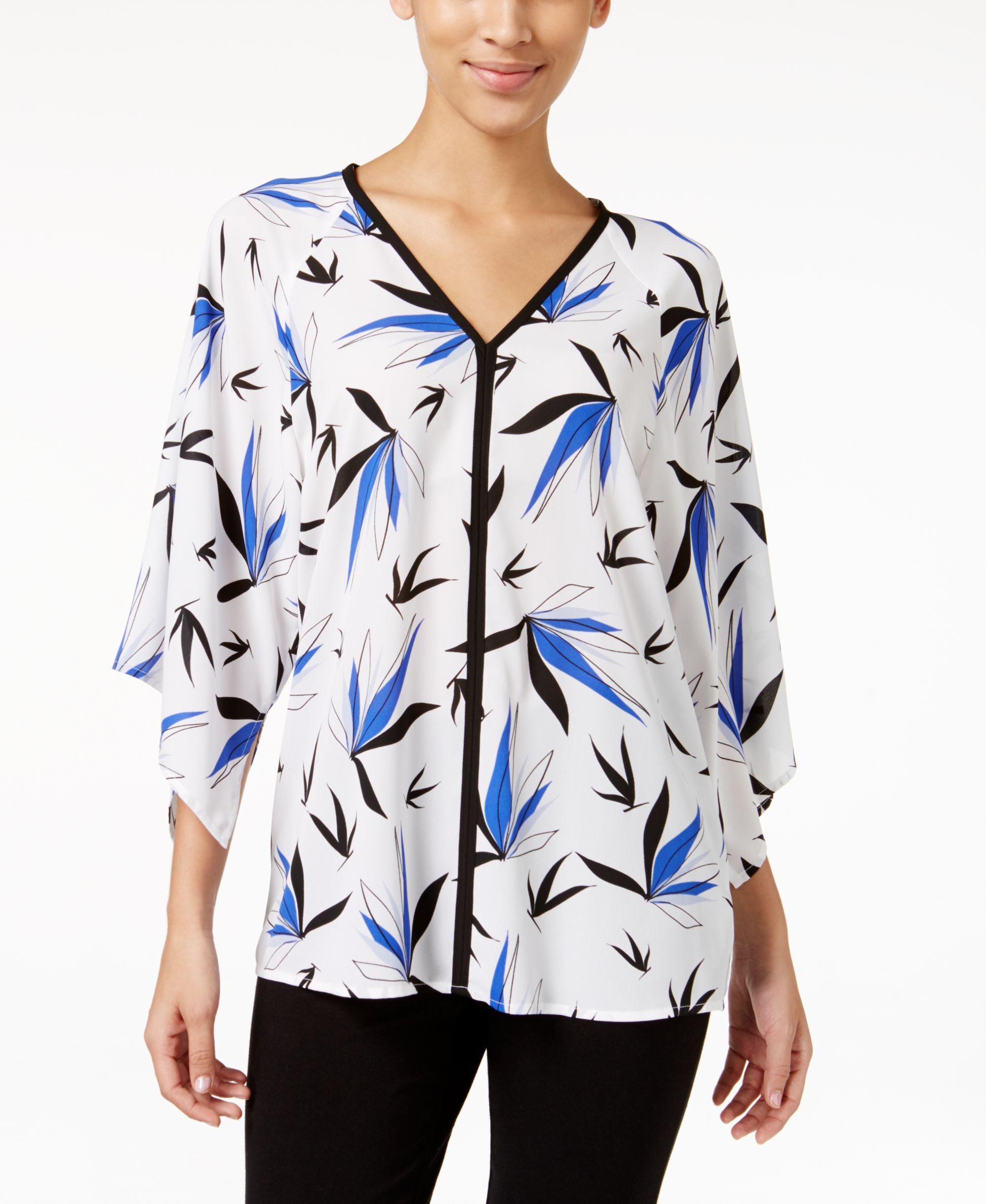 Alfani Printed Kimono-Sleeve Top, Only at Macy's