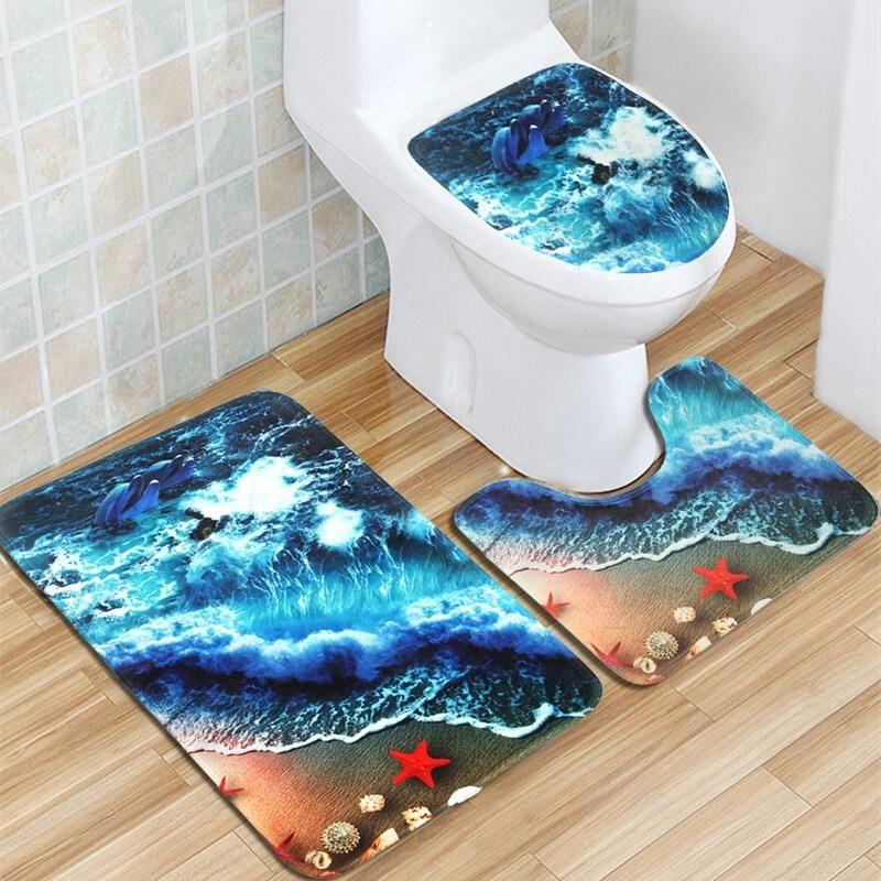 Flannel Mat Set Toilet Cover Set Non Slip Bathroom Underwater