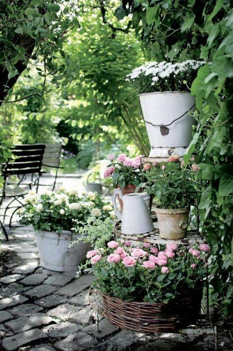 Vintage Garten garten gartenideen gartendeko vintage stil blumen garten