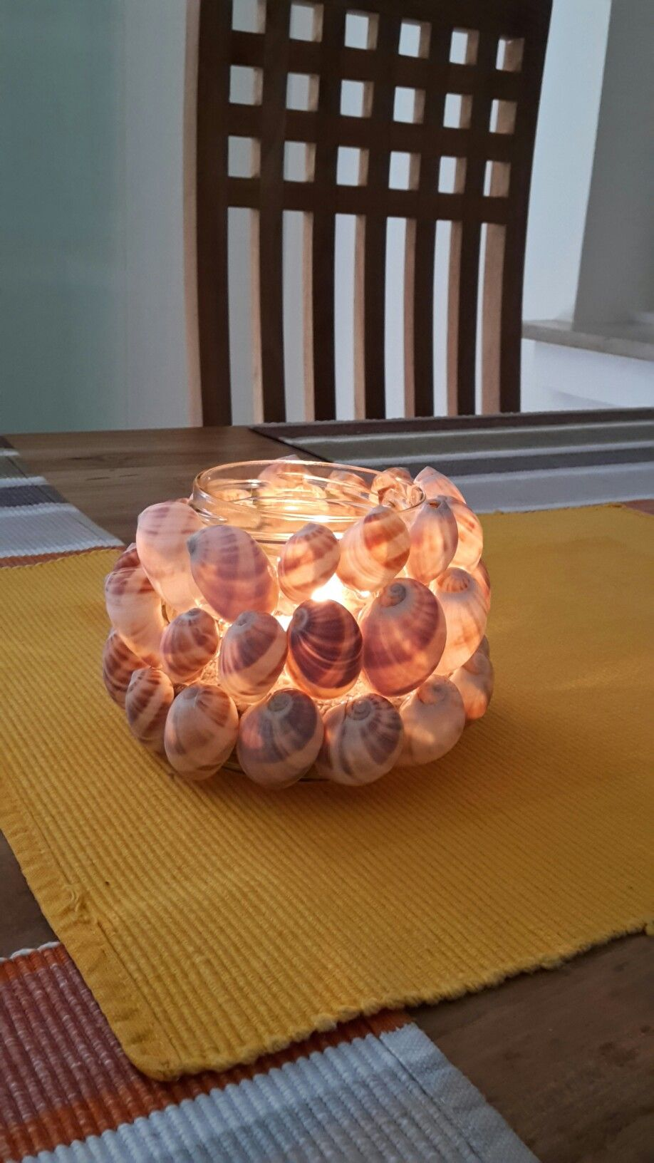 Kerzenglas mit Muscheln:-)