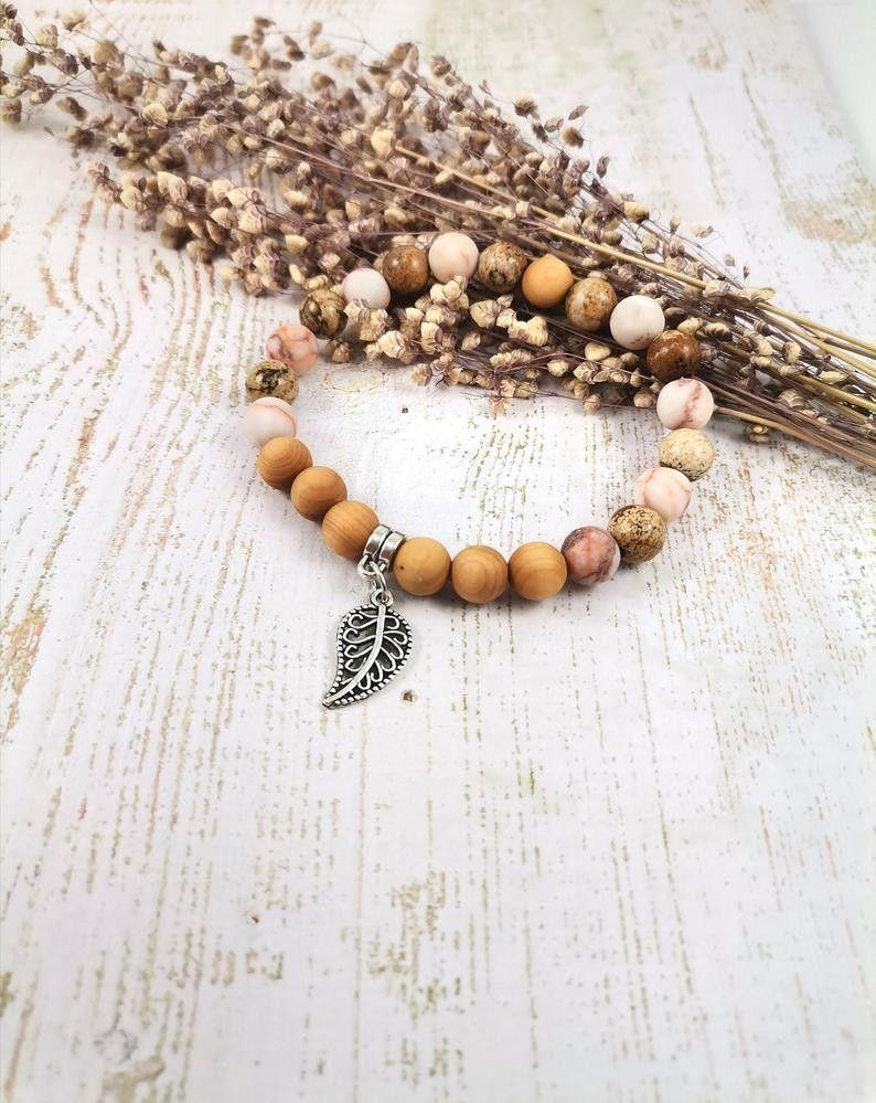 Mala Armband  Yoga Jewellry Japa Meditation Landschafts Jaspis Sandelholz Edelsteine Buddhist Chakra Netzstein u Ich bin geerdet