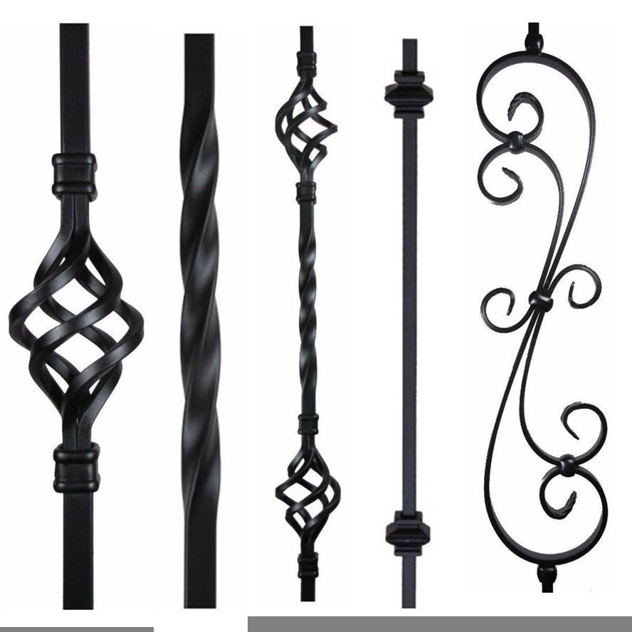 Black Iron Stair Parts Metal Spindles Balusters Basket Twist Knuckle Scroll  Shoe
