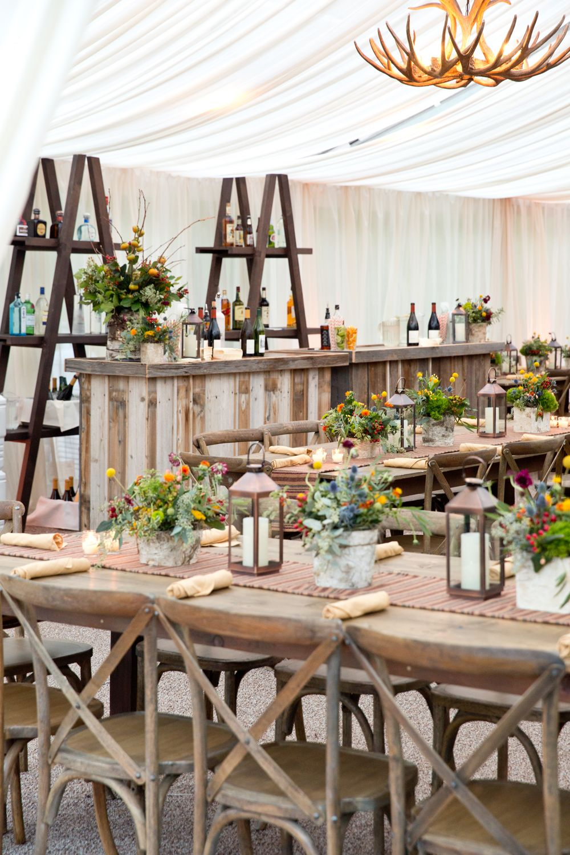 Country wedding/rehearsal dinner antler chandelier, wood ...