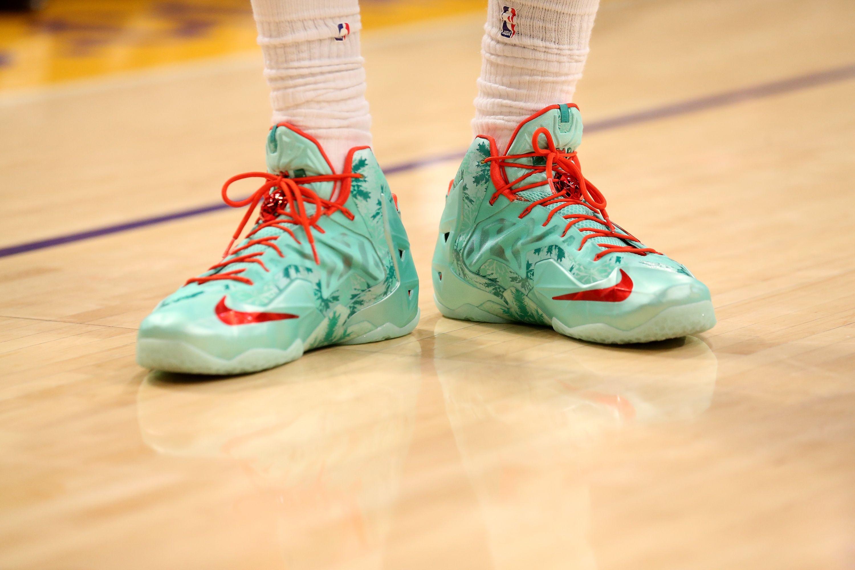 Lebron James #6 of the Miami Heat wears