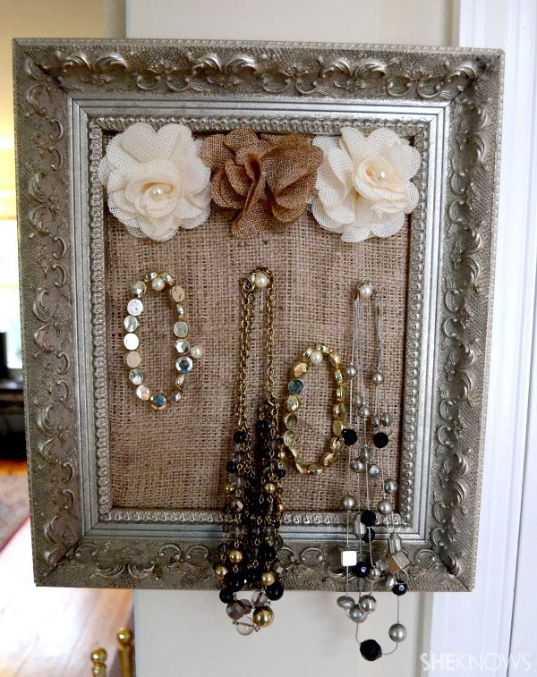 Easy DIY Framed Jewelry Holder - Brill idea for storing jewelry and looks  very chic!