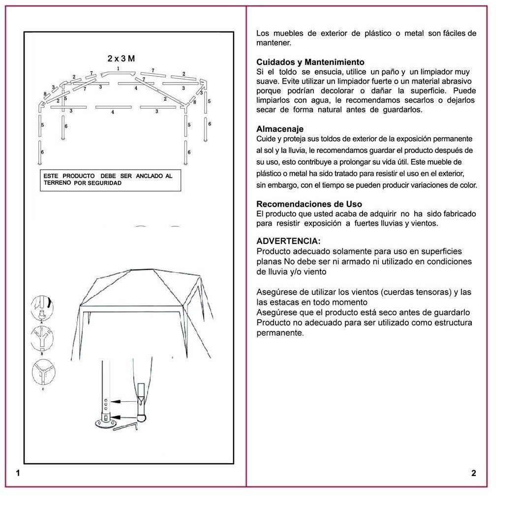 Manual Armado Toldo Rectangular 3x2 Metro Sodimac Sku 113654 Cosas