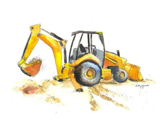 Yellow Crane / Excavator Cute Wall Art for Little Boys Rooms - Kathy ...