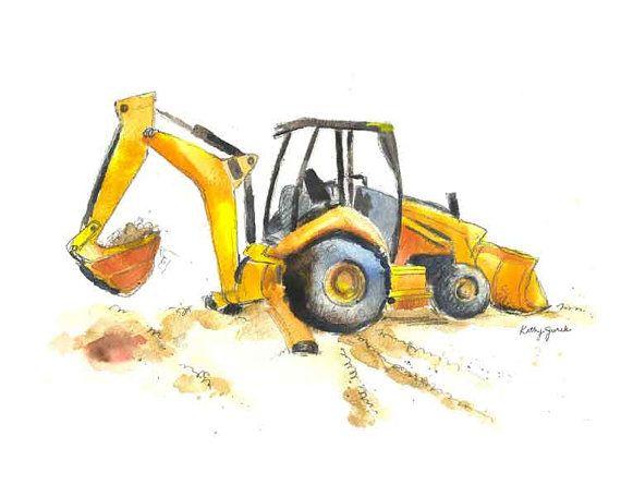 Kids prints Digger painting Orange digger print Excavator print