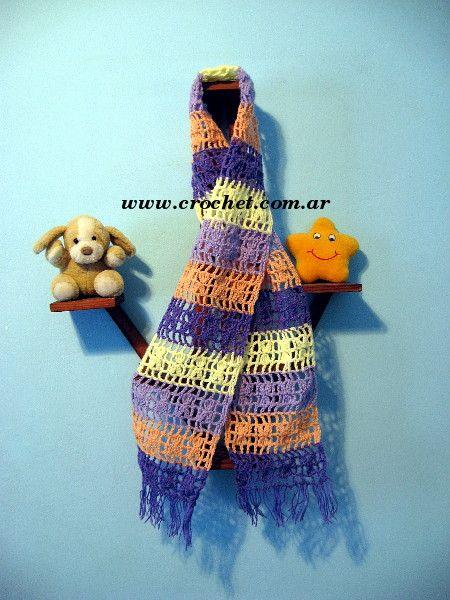Bufanda para niña tejida a crochet | bufandas | Pinterest | Bufandas ...