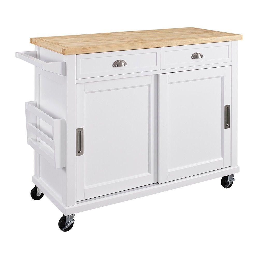 Kitchen Island Wood/White - Linon Home Decor  White kitchen cart