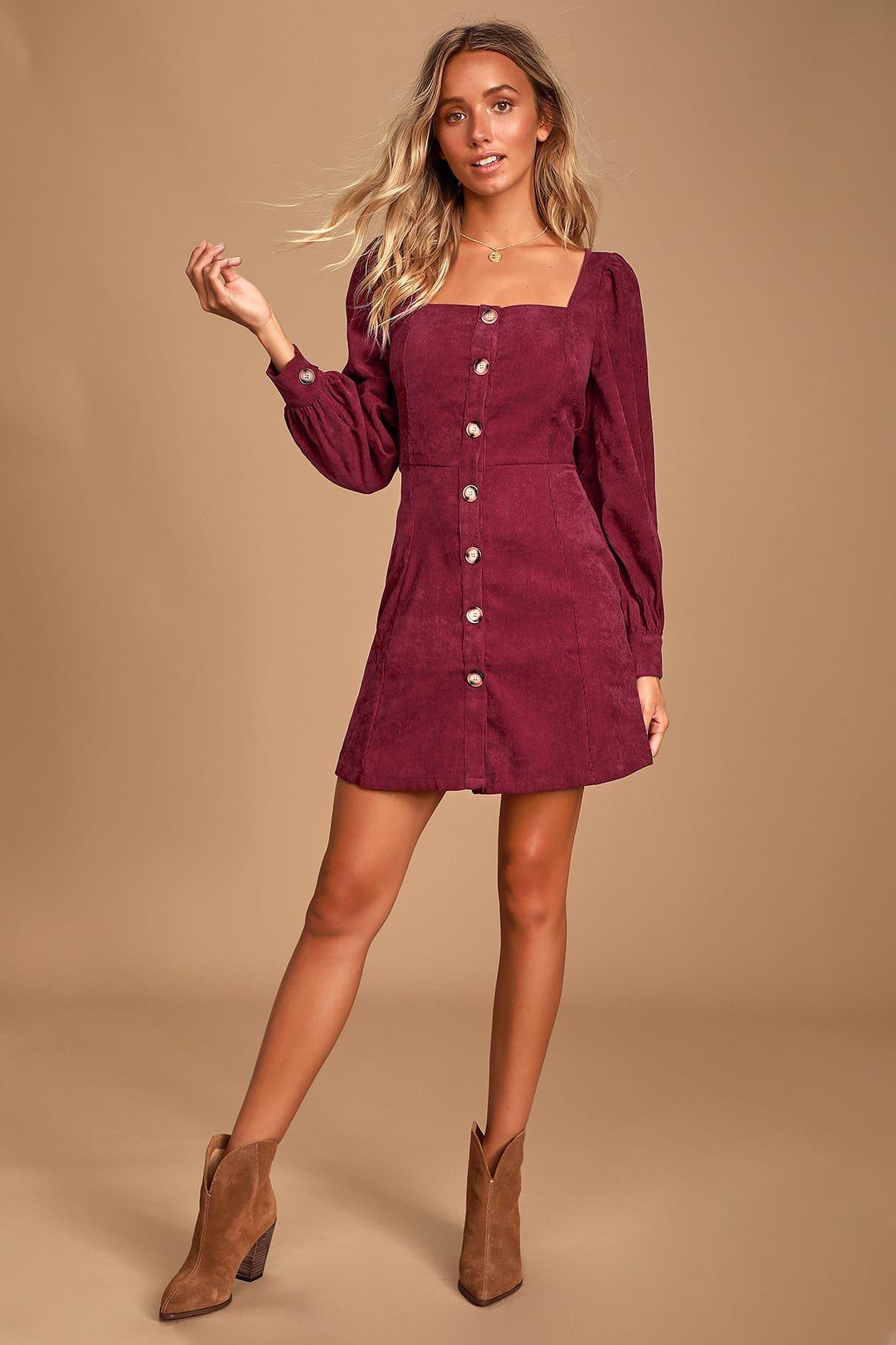 Amabelle Burgundy Corduroy Long Sleeve Button Up Mini Dress Long Sleeve Burgundy Dress Mini Dress Long Sleeve Dress [ 1680 x 1120 Pixel ]