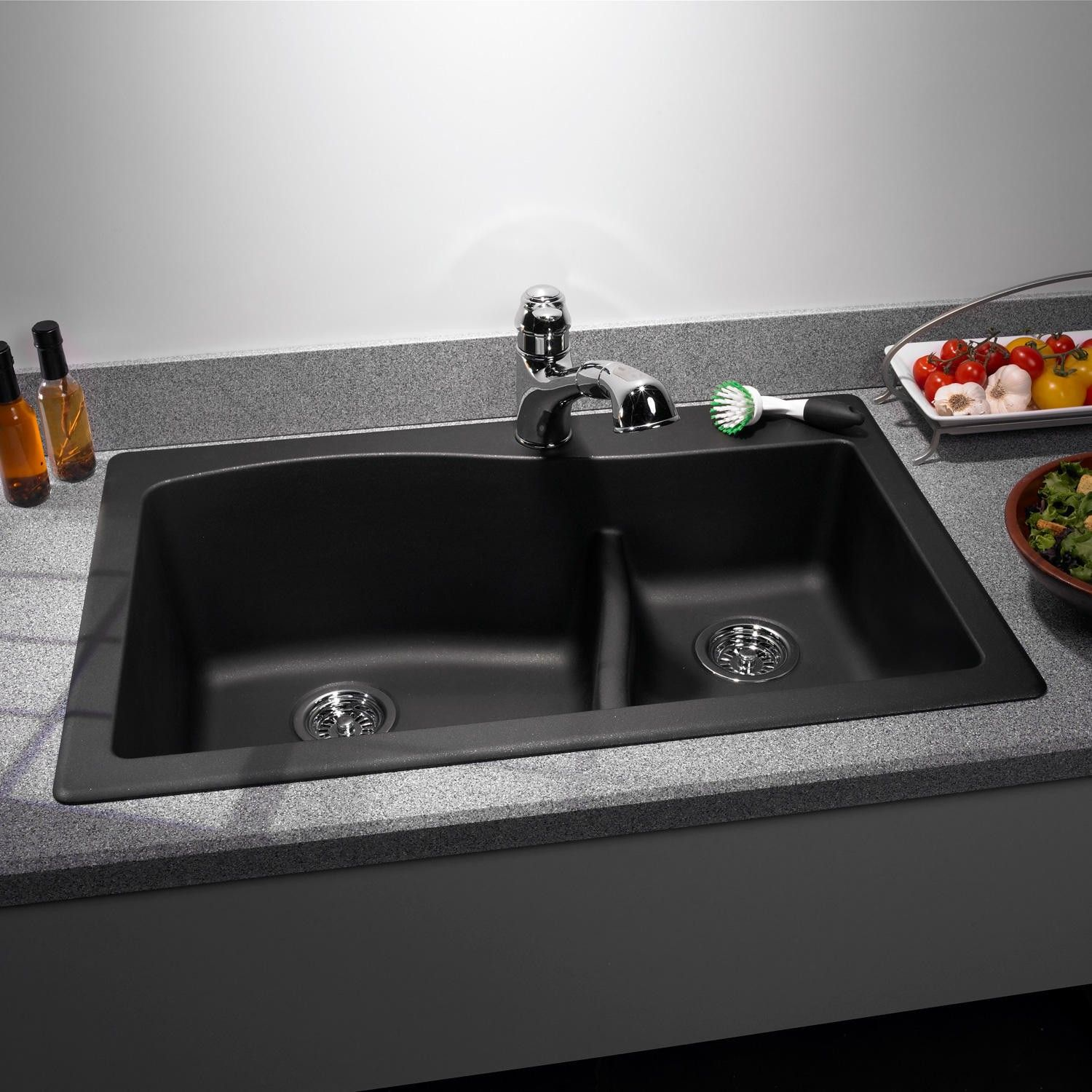 Swanstone Granite Largesmall Double Bowl Drop In Kitchen Sink  Espresso