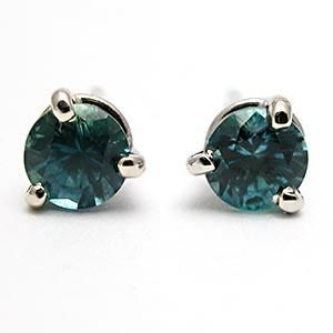 Montana Blue Sapphire Stud Martini Style Earrings Solid 14K White Gold