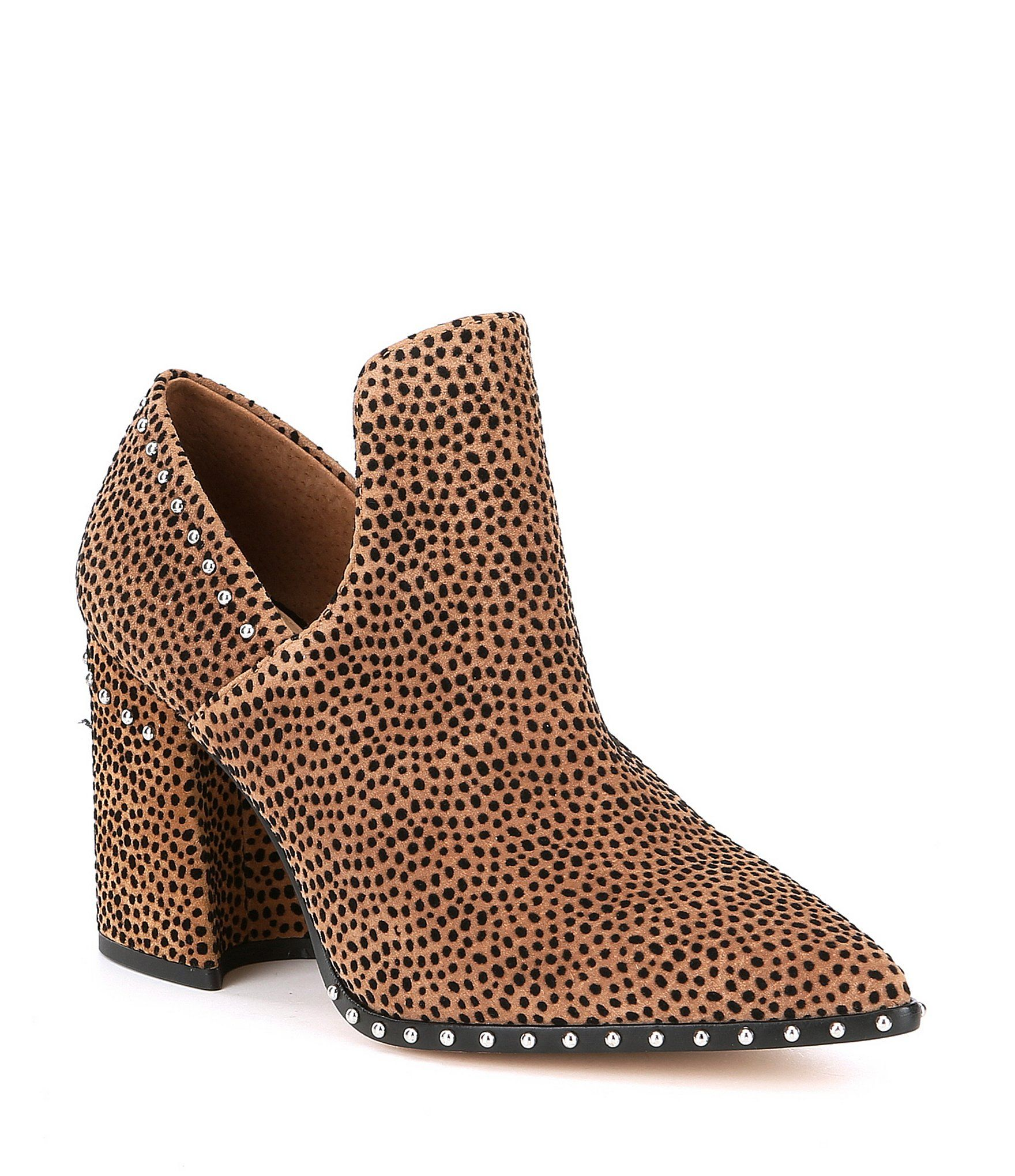 35b8f052ec6c9 Gianni Bini Daveigh Cheetah Print Suede Studded Western Block Heel ...