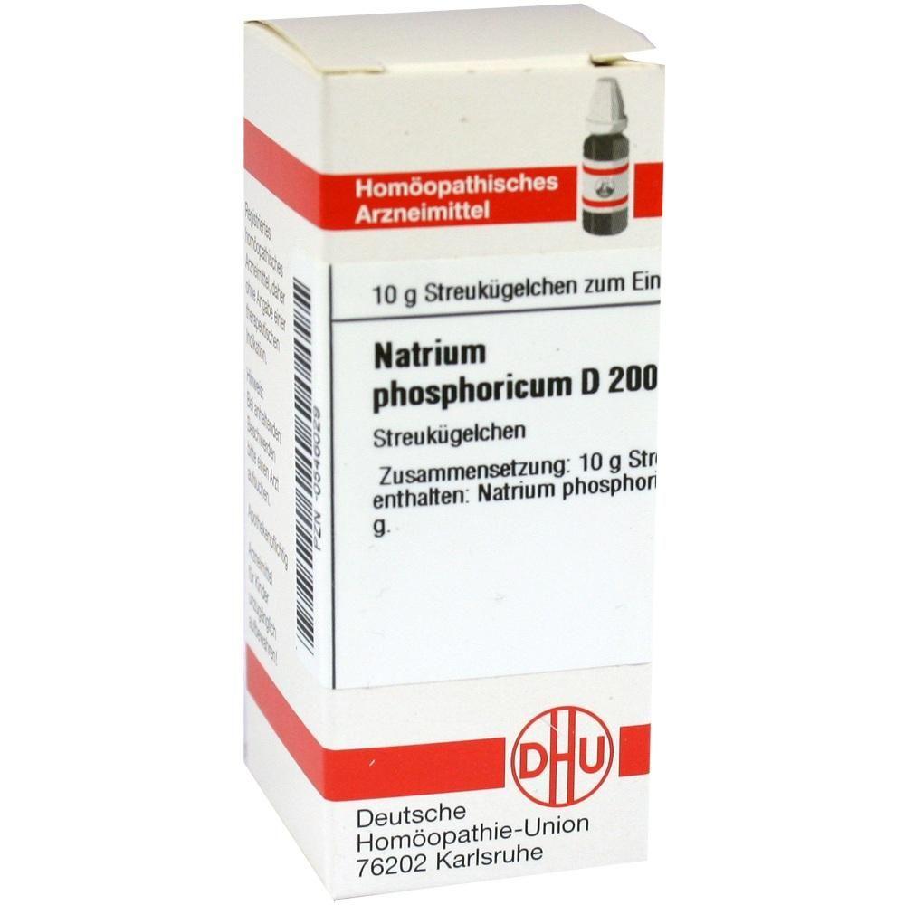 NATRIUM PHOSPHORICUM D 200 Globuli:   Packungsinhalt: 10 g Globuli PZN: 00546029 Hersteller: DHU-Arzneimittel GmbH & Co. KG Preis: 9,59…