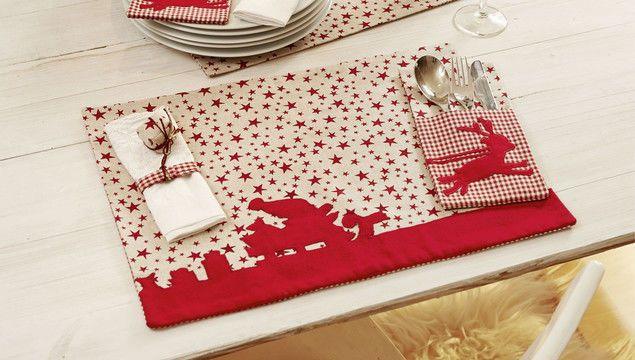 Weihnachtliches Tischset mit Rentier und Weihnachtsmann zum ...