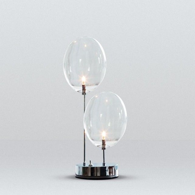 PRO SECCO Lampe  poser 2 diffuseurs Verre Chrome H40cm