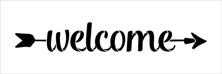 Welcome - Simple Script - Arrow - Word Art Stencil - 16\