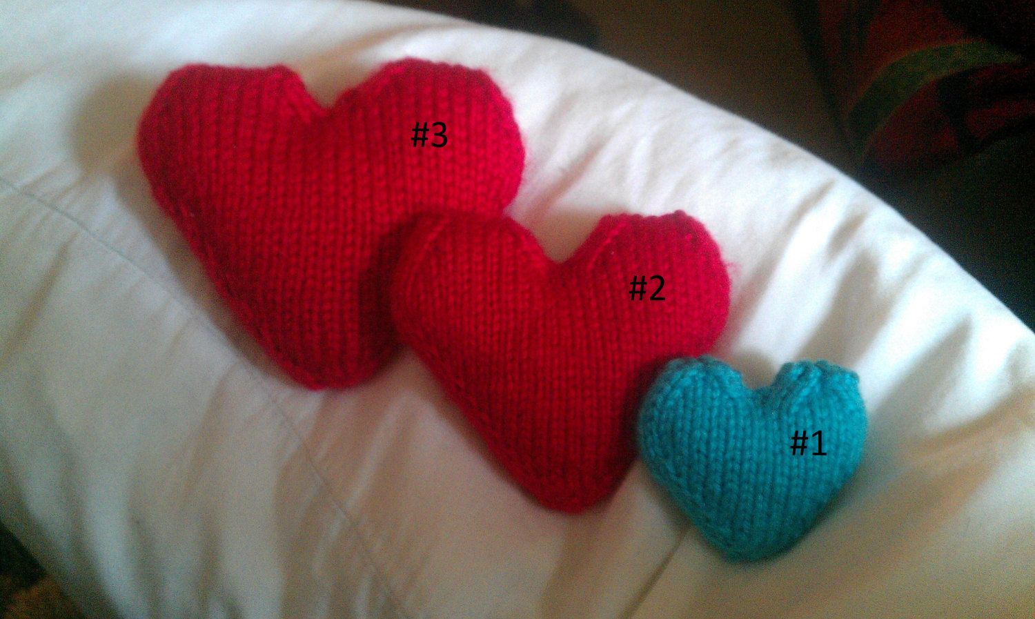 Knitted wedding decorations  Knitted Stuffed Hearts  Valentines Day  Mothers Day Gift  Give