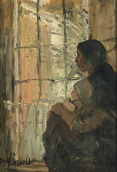 Jozef Israëls - AT THE WINDOW; Medium: oil on panel