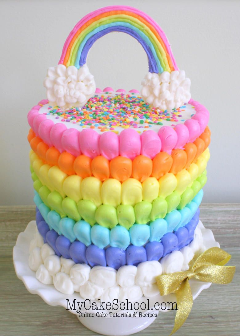 Cheerful Puffed Buttercream Rainbow Cake Free Video With Images