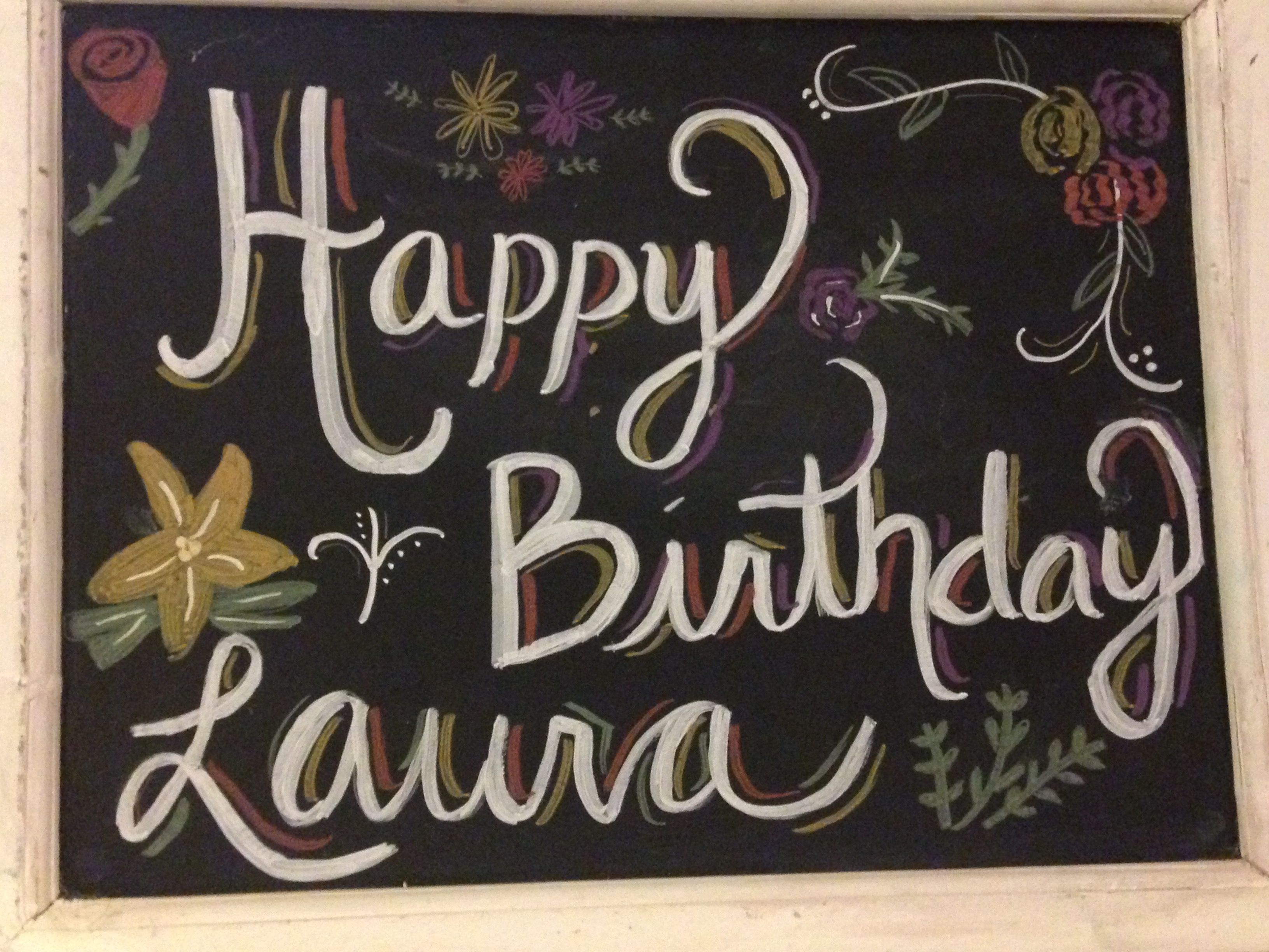 Happy Birthday Chalkboard Flowers