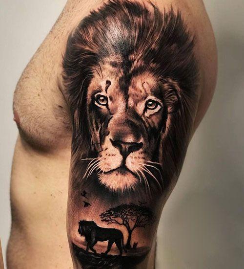 Upper Arm Lion Tattoo Ideas For Guys Best Arm Tattoos For Men Cool Arm Tattoo Tattoo Pins Cool Arm Tattoos Arm Tattoos For Guys Lion Tattoo Sleeves