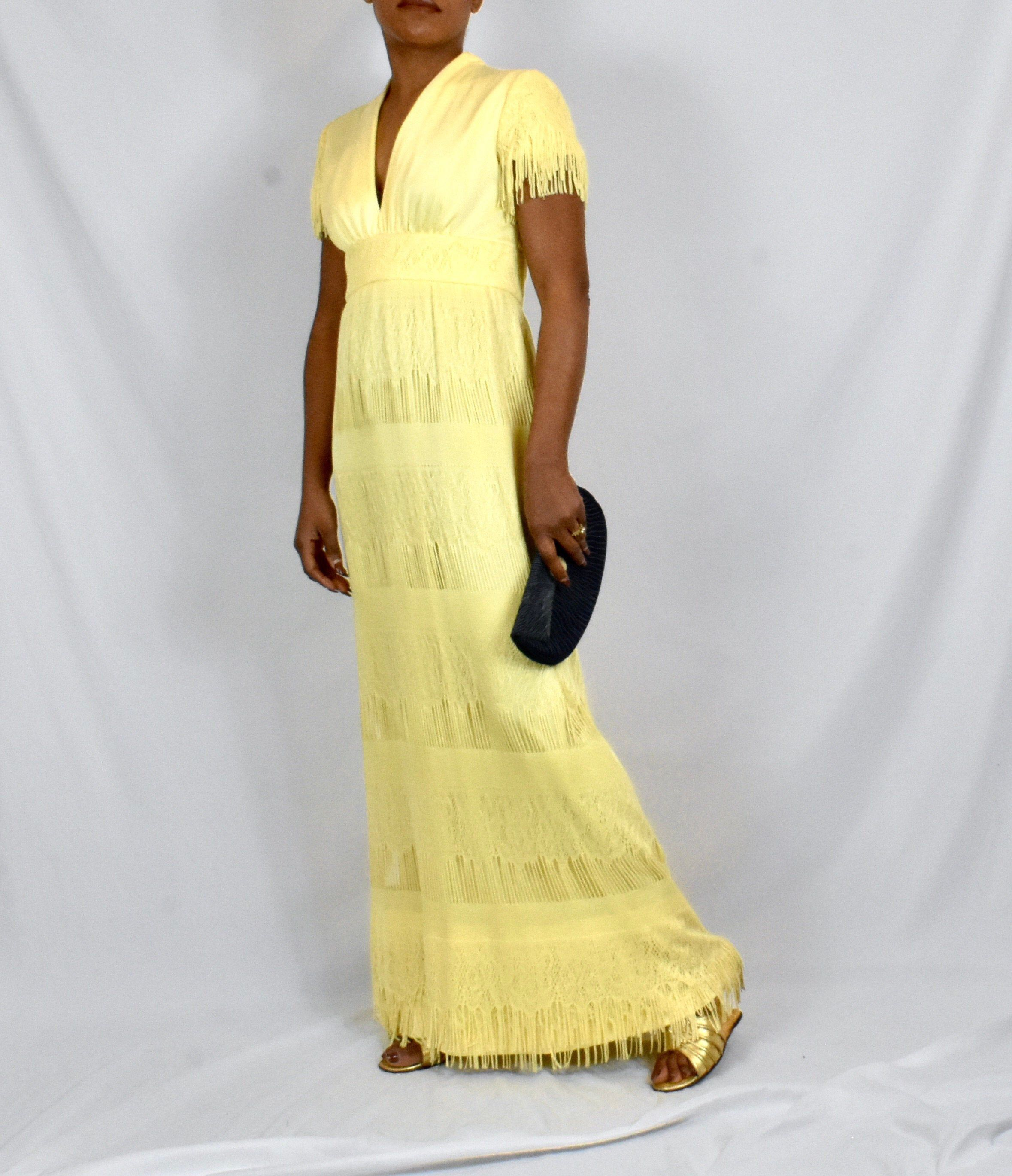 Vintage 1970s Yellow Lace Maxi Dress With Fringe In 2020 Lace Maxi Dress Lace Maxi Maxi Dress [ 2738 x 2358 Pixel ]
