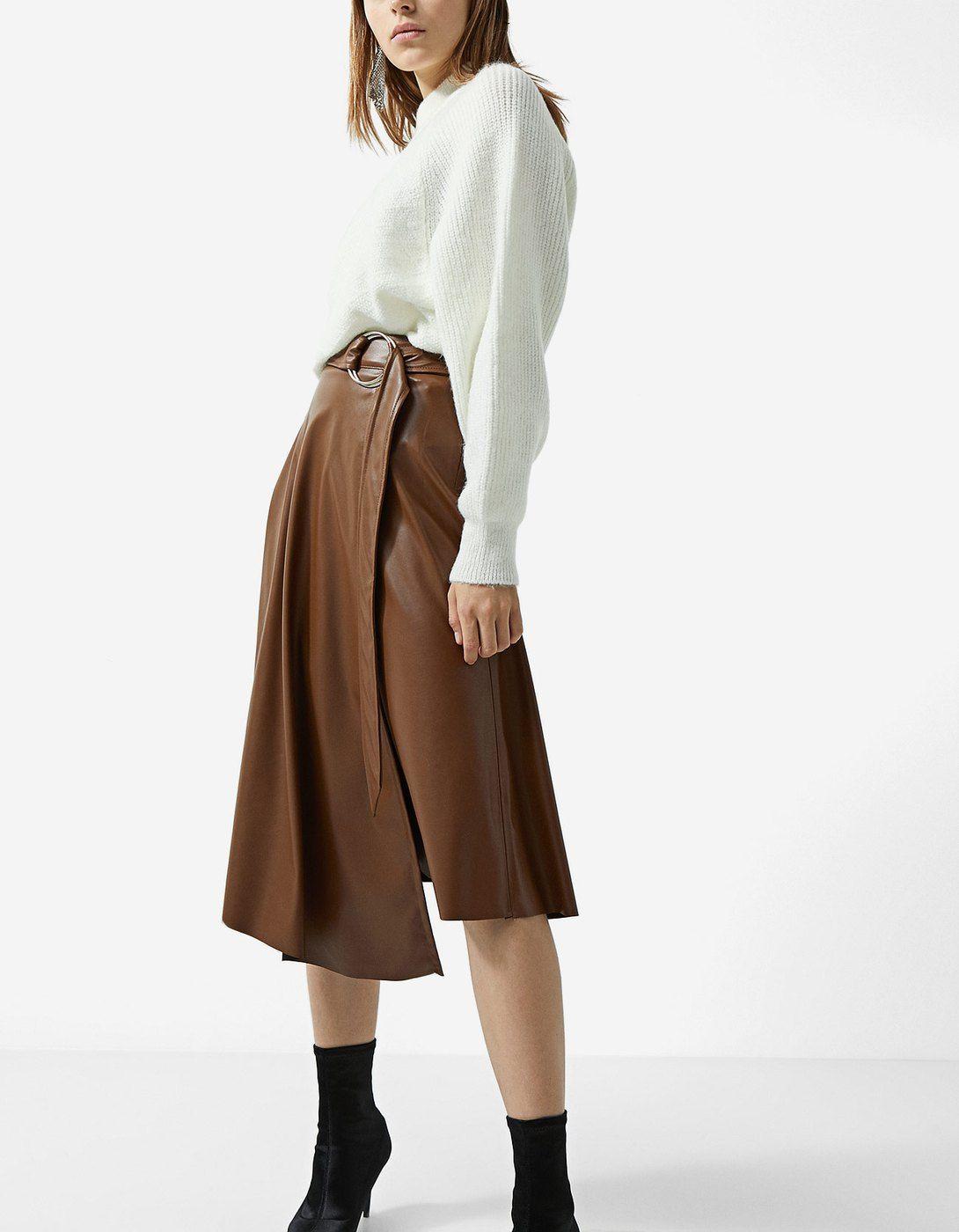 9eea14bde Faux leather asymmetric midi skirt - Skirts | Stradivarius Hungary ...