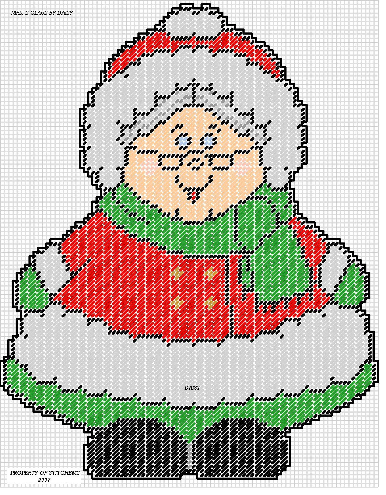 Santa Claus en Plastic Canvas cross stitch chart