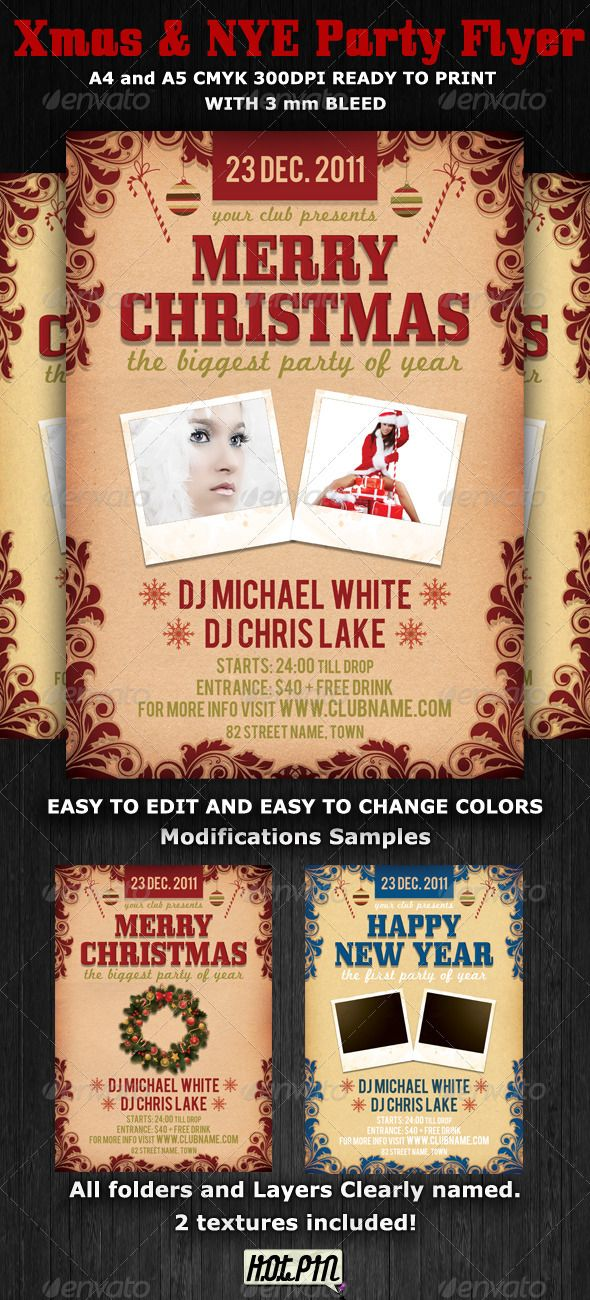 Christmas And Nye Party Flyer Template  Nye Party Party Flyer