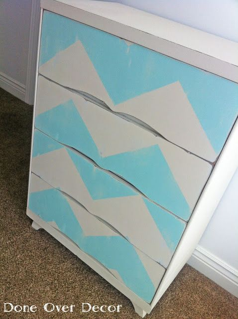 Chevron stripe dresser and antiqued... this would be perfect in a nursery!
