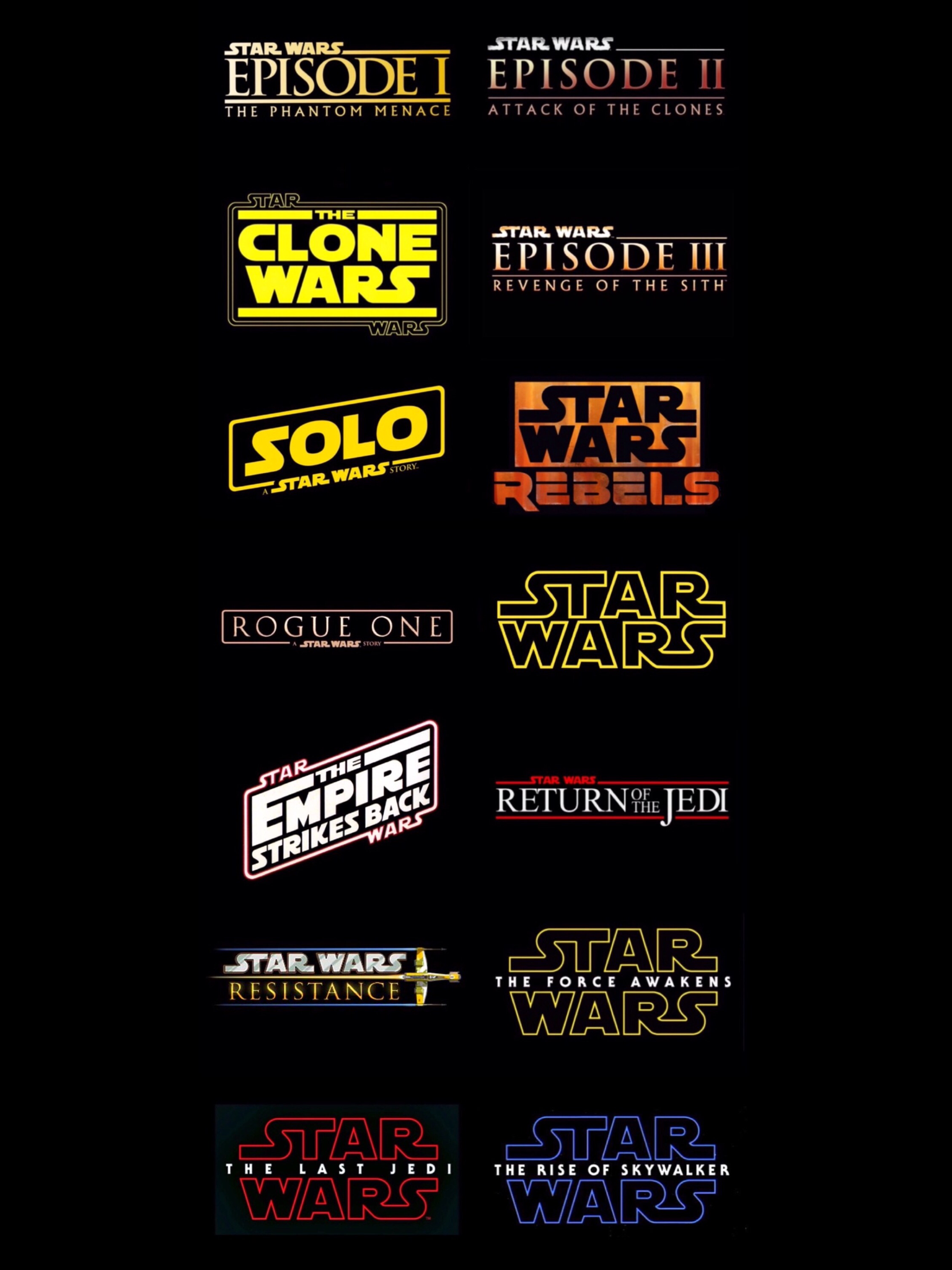 Image result for all star wars titles in order