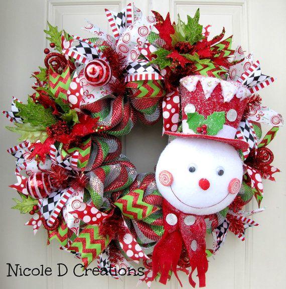 Deluxe RAZ Frosty Hat Snowman Christmas by NicoleDCreations Deco - outdoor snowman christmas decorations