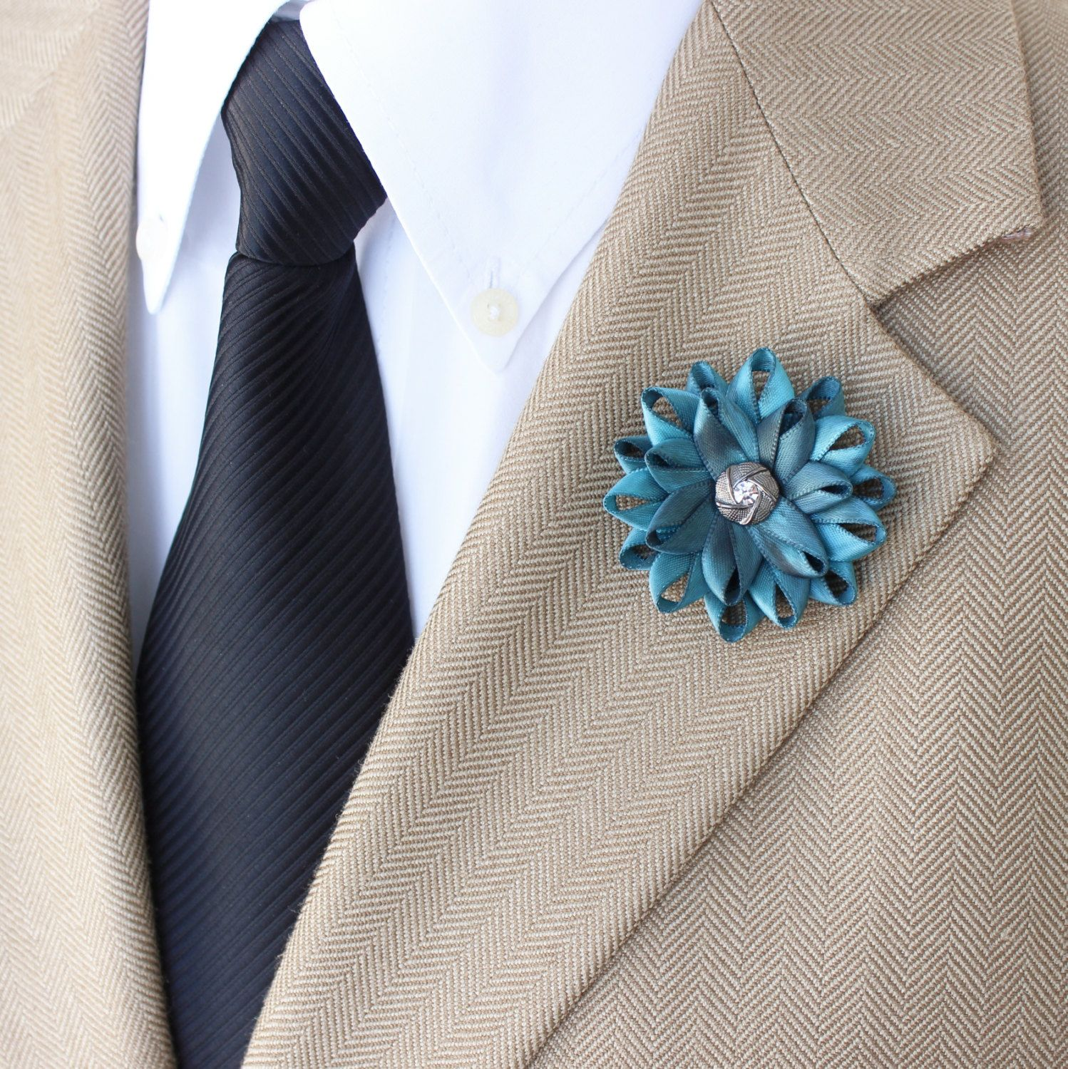 Mens Fashion Mens Lapel Flower Teal Lapel Flower for Men Gift for Him Teal Boutonniere Mens Flower Unique Lapel Flower Mens Lapel Pin